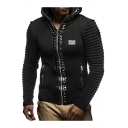 Cool Long Sleeves Rivets Embellished Hooded Zippered Ribbed Plain Coat with Zipped-Pockets