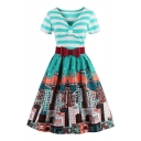 Beach Bow V Neck Short Sleeves Belted Houses City Pattern Striped Flared Midi Dress