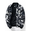 Cool Camouflaged Pattern Long Sleeves Zippered Bomber Jacket