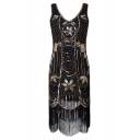 Brilliant V-Neck Sleeveless Sequined Tasseled Beaded Mini Bodycon Tank Dress