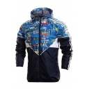 Chic Color Block Print Hooded Zip Up Long Sleeve Windproof Coat