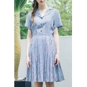 Fashion Floral Striped Print Short Sleeve Button Gathered Waist Shirt Dress