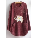 Lovely Cartoon Elephant Pattern Long Sleeve Round Neck Tunic Pullover Sweater