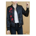 Embroidery Floral Pattern Long Sleeve Stand-Up Collar Zipper Baseball Jacket