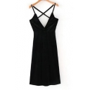 Sexy Chic V-Neck Crisscross Back Slip Mini Dress