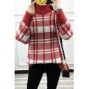 Hot Fashion Plaid Print Long Sleeve Turtleneck Tunic Pullover Sweater