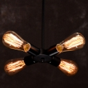 Industrial Chandelier with 4 Light in Open Bulb Style, Black