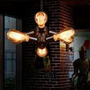 Industrial 6 Light Chandelier in Open Bulb Style, Black