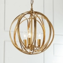 Industrial 13.8''W Chandelier with Globe Metal Cage Frame in Gold, 3 Light