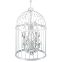 Industrial 14''W Chandelier with Hanging Crystal Decorarion in White, 4 Light