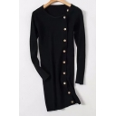 Fashion Button Side Simple Plain Long Sleeve Round Neck Slim-Fit Tunic Sweater