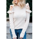 Stylish Plain Ruffle Cold Shoulder Long Sleeve Cropped Pullover Sweater