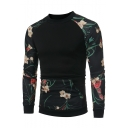 Trendy Floral Printed Color Block Round Neck Long Sleeves Pullover Sweatshirt with Pocket