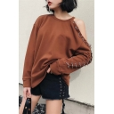 Simple Plain Cold Shoulder Metal Rings Wmbellished Long Sleeve Pullover Sweatshirt