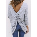 Fashion Open Back Long Sleeve Simple Plain Tunic Tee