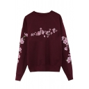 Simple Floral Pattern Long Sleeves Round Neck Pullover Casual Sweatshirt