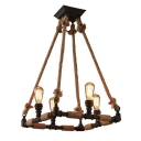 Industrial 4 Light Pipe Chandelier 20''W in Rope Style