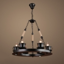 Industrial 25.5''W Chandelier with Teacap Lamp Socket in Black, 6 Light