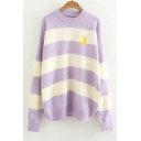 Trendy Moon Embroidered Striped Long Sleeves Round Neck Loose Sweater