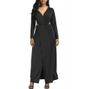Elegant Long Sleeves V-Neck Cutout Waist Split Hem Wrap Maxi Plain Dress