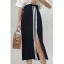 Casual Striped Pattern Split Side Midi Tube Women's Skirt