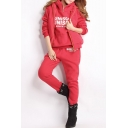 Warm Autumn Winter Letter Print Hooded Three-piece Sports Co-ords