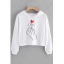 Fancy Hand Sweetheart Pattern Long Sleeves Pullover Cropped Hoodie with Drawstring