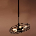 Retro Style 26'' Wide Five Light Hanging Iron LED Pendant Lighting