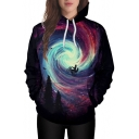 Trendy Spiral Galaxy Biker Forest Printed Long Sleeves Pullover Hoodie with Pocket