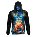 New Fashion 3D Colorful Owl Print Long Sleeve Hoodie with Pocket