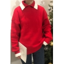 Simple Lapel Color Block Long Sleeve Over-Sized Pullover Sweater