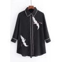 Embroidery Crane Pattern Long Sleeve Button Down Lapel Shirt