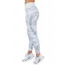 New Fashion Camouflage Letter Print Elastic Waist Leggings