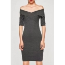 Classic Off the Shoulder Short Sleeves Wrapped Front Slim-fit Mini Dress