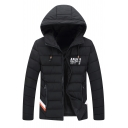 Classic Long Sleeves Zip Up Letter Pattern Warm Padded Coat with Pockets