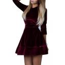 Ladylike Round Neck Long Sleeve Plain A-line Mini Dress