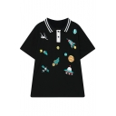 Sportive Polo Striped Collar Spacecrafts Pattern Double-Buttons Short Sleeves Tee