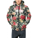Groovy Allover Floral Pattern Long Sleeves Zippered Hoodie with Pockets