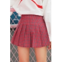 New Fashion Plaid Pattern High Waist Pleated Mini Skirt