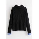 Simple Plain Cuff Panel Turtleneck Long Sleeve Pullover Sweater