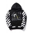 Stylish Striped Sleeves Color Block Graffiti Pattern Pullover Hoodie with Pocket