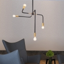 Industrial 4-Light Chandelier in Bare Bulb Style, Black