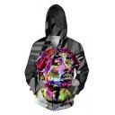 New Trendy Hip-Pop Style Long Sleeve Zip Up Loose Hoodie