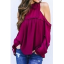 Chic Simple Plain Cold Shoulder Long Sleeve Blouse