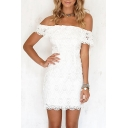Chic Plain Off The Shoulder Floral Lace Up Short Sleeve Pencil Mini Dress