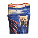Amazing Screaming Cat Oil-Painting Printed Round Neck Sleeveless Cropped Tank Top