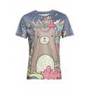 Unique Colorful Color Block Cartoon Bear Printed Round Neck Summer Tee
