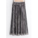 Stylish Elastic Waist Midi Pleated Layered Skirt Trimmed with Chiffon