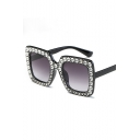 Cool Gem Beaded Women's Square Sunglasses