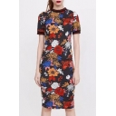 New Stylish Floral Print Short Sleeve Round Neck Dress